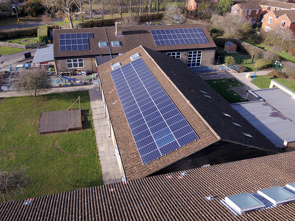 Solar panels at Great Lindford