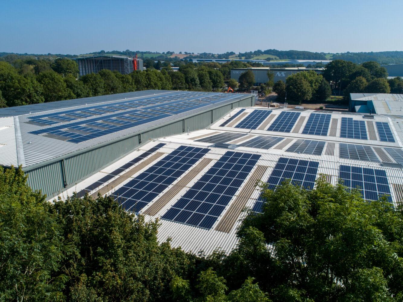 Solar panels on Thorlux roof