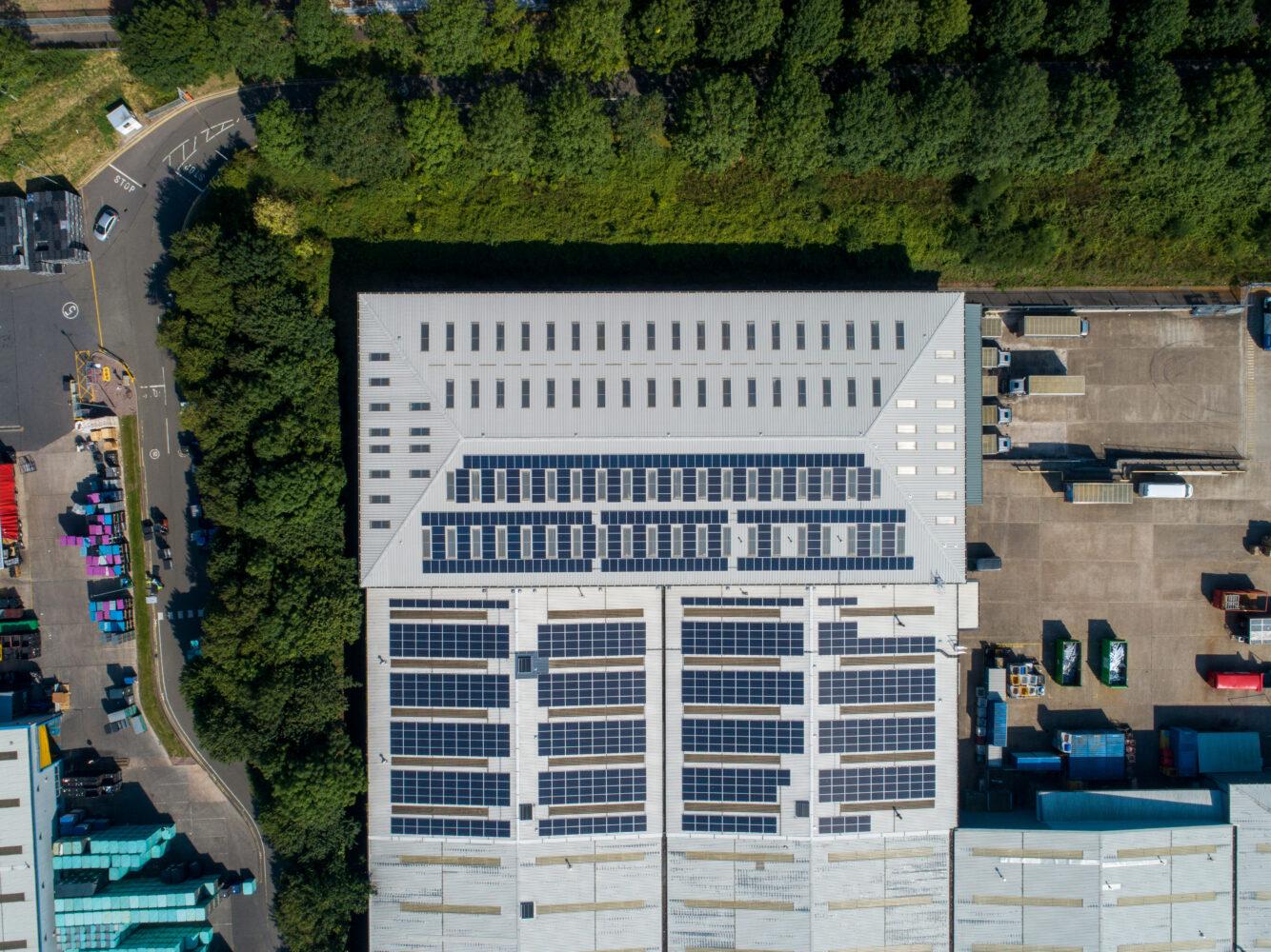 Solar panels on Thorlux Lighting's roof