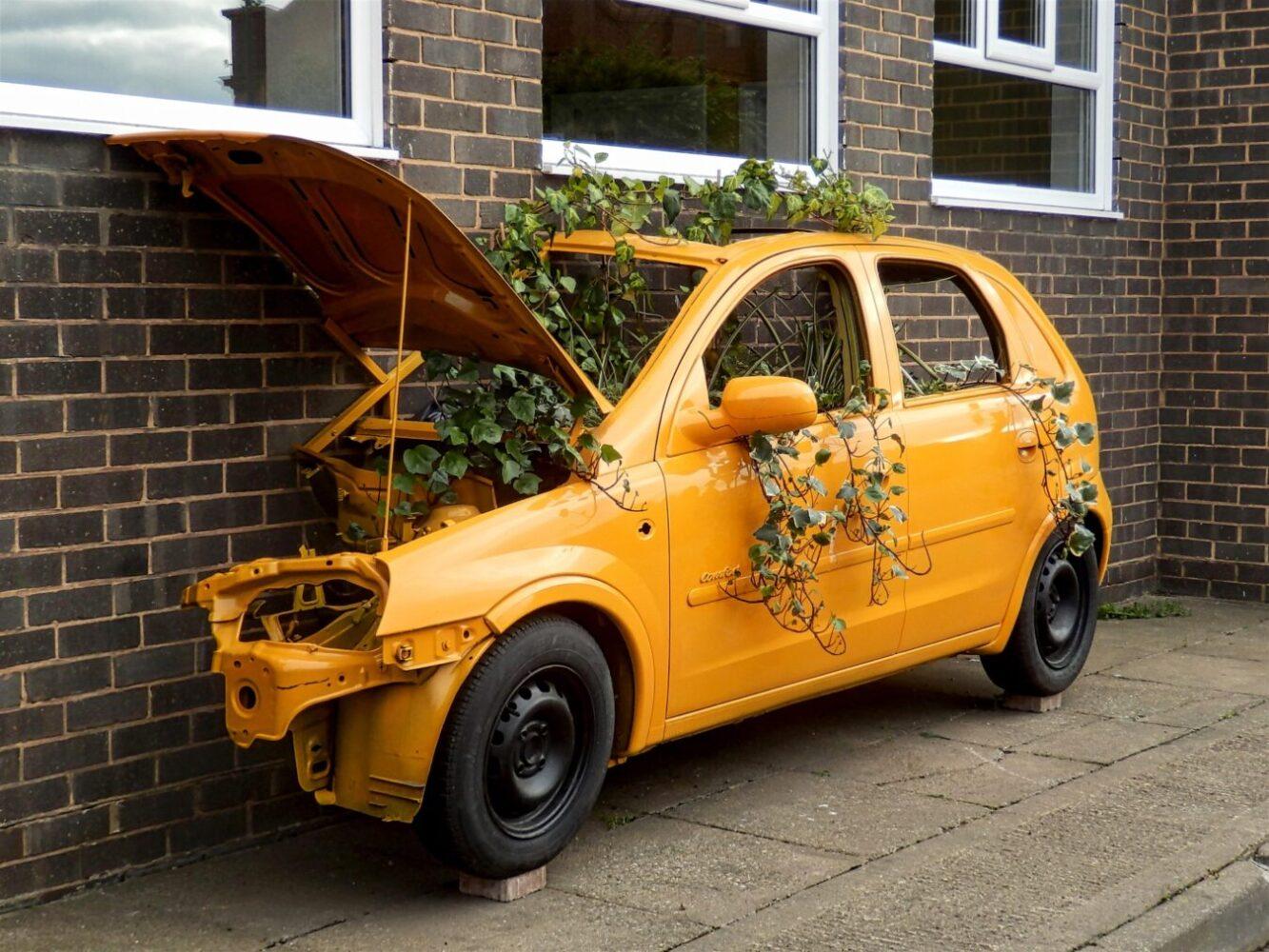 Repurposed car planter