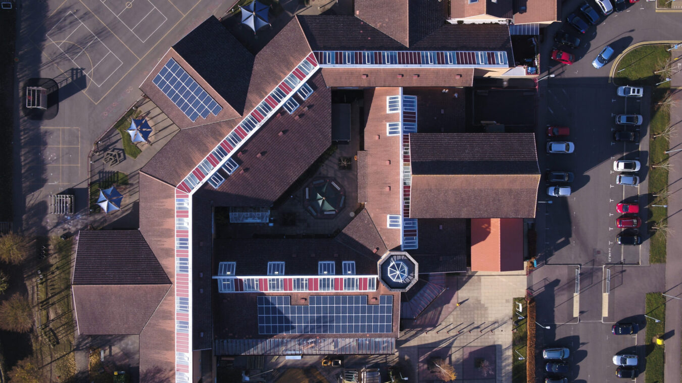 Christ the Sower aerial shot of solar PV
