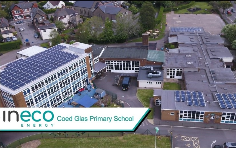 Solar panels at Coed Glas Primary School