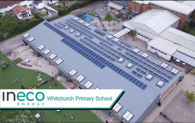 Whitchurch Primary School aerial shot of solar panels
