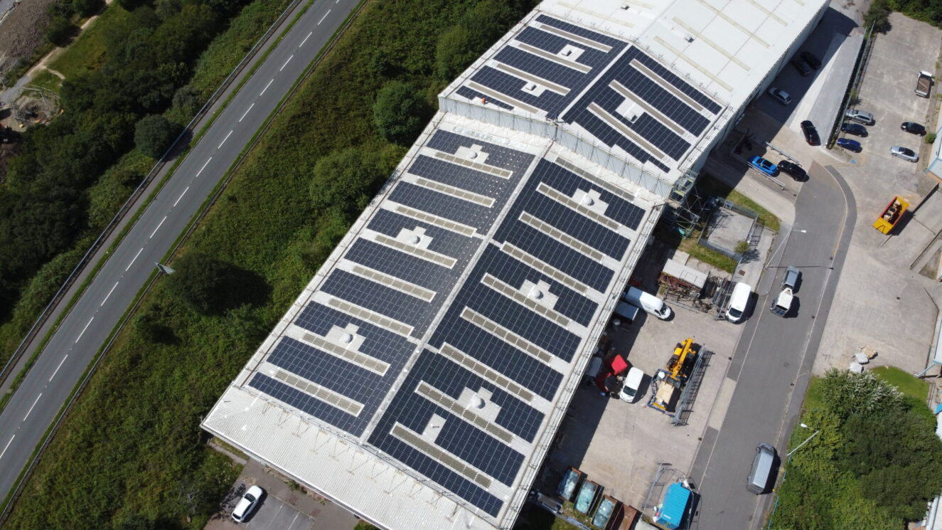 Large solar PV array at Glassworld, Cardiff